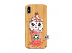 Coque Bois iPhone XS MAX Catpucino Ice Cream Smoothie
