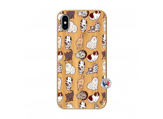 Coque iPhone XS MAX Cat Pattern Bois Bamboo