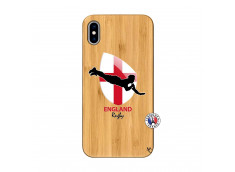 Coque iPhone XS MAX Coupe du Monde Rugby-England Bois Bamboo