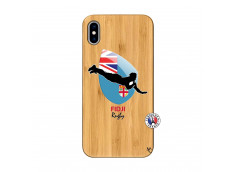 Coque iPhone XS MAX Coupe du Monde Rugby Fidji Bois Bamboo