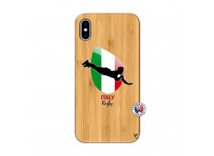 Coque iPhone XS MAX Coupe du Monde Rugby-Italy Bois Bamboo