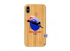 Coque iPhone XS MAX Coupe du Monde Rugby- Nouvelle Zélande Bois Bamboo