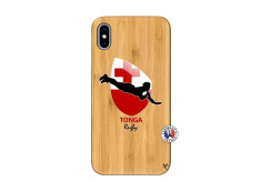 Coque iPhone XS MAX Coupe du Monde Rugby-Tonga Bois Bamboo