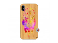 Coque iPhone XS MAX Dreamcatcher Rainbow Feathers Bois Bamboo