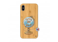 Coque iPhone XS MAX Globe Trotter Bois Bamboo