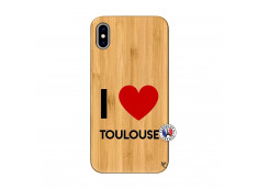 Coque iPhone XS MAX I Love Toulouse Bois Bamboo