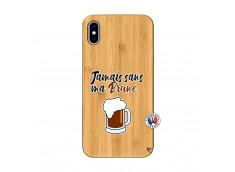 Coque iPhone XS MAX Jamais Sans Ma Brune Bois Bamboo