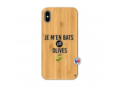 Coque iPhone XS MAX Je M En Bas Les Olives Bois Bamboo