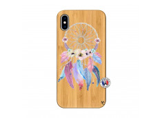 Coque iPhone XS MAX Multicolor Watercolor Floral Dreamcatcher Bois Bamboo