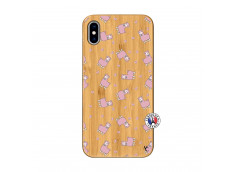 Coque iPhone XS MAX Petits Moutons Bois Bamboo