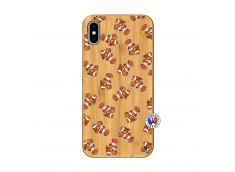 Coque iPhone XS MAX Petits Poissons Clown Bois Bamboo