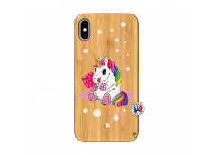 Coque iPhone XS MAX Sweet Baby Licorne Bois Bamboo