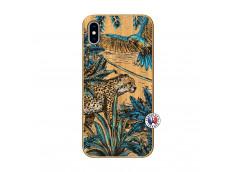Coque iPhone XS MAX Leopard Jungle Bois Bamboo