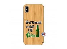 Coque iPhone XS MAX Tout Travail Merite Sa Biere Bois Bamboo
