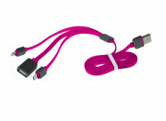 Câble Trio Lightning/Micro USB/ USB Plat 1M- Rose