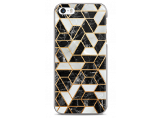 Coque iPhone 5C Black & Gray artistic geometric marble