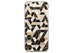 Coque iPhone 5C Black & Gray mosaic geometric marble