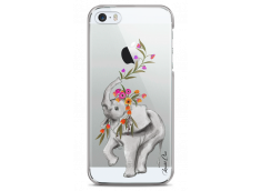 Coque iPhone 5/5s/SE Boho Elephant with flowers