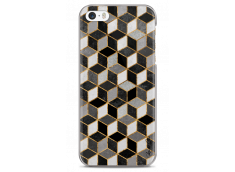 Coque iPhone 5C Cubic Black & Gray Geometric Pattern