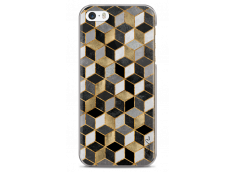 Coque iPhone 5C Cubic Gold & Black Geometric Pattern