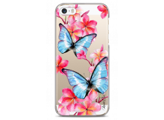 Coque iPhone 5C Blue watercolor butterflies