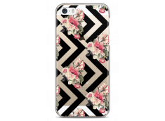 Coque iPhone 5/5s/SE Black geometric flowers