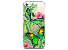 Coque iPhone 5C Green watercolor butterflies