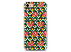 Coque iPhone 5/5s/SE Green geometric with red flowers