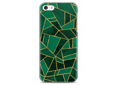 Coque iPhone 5C Green & Gold Geometric Pattern