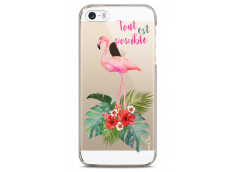 Coque iPhone 5C Tropical watercolor flamingo
