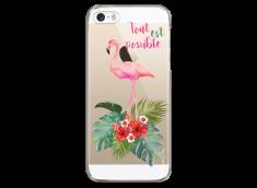Coque iPhone 5C Tropical watercolor flamingo