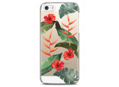 Coque iPhone 5C Tropical watercolor design red flowers