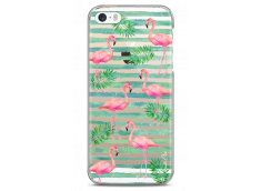 Coque iPhone 5C Tropical watercolor design striped flamingo