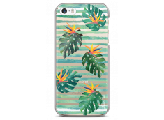 Coque iPhone 5/5s/SE Tropical watercolor striped leaves