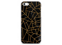 Coque iPhone 5C Black & Gold geometric triangle marble