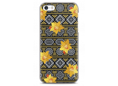 Coque iPhone 5C Yellow flowers with aztec pattern