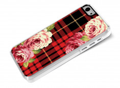 Coque iphone 5C Flowers and Red Tartan