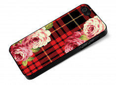 Coque iphone 5/5S/SE Flowers and Red Tartan