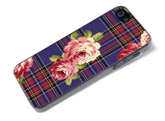Coque iphone 5/5S/SE Flowers and Blue Tartan