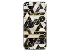 Coque iPhone 6Plus/6SPlus Black & Gray artistic geometric marble