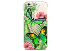 Coque iPhone 6Plus/6SPlus Green watercolor butterflies