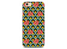 Coque iPhone 6Plus/6SPlus  Green geometric with red flowers