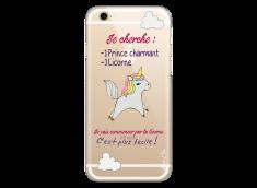 Coque iPhone 6/6S Licorne cherche un prince charmant