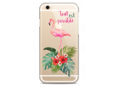 Coque iPhone 6Plus/6SPlus Tropical watercolor flamingo
