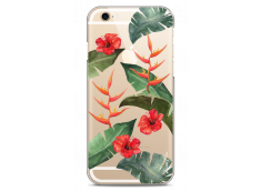Coque iPhone 6/6S Tropical watercolor design red flowers