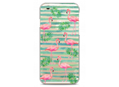 Coque iPhone 6Plus/6SPlus Tropical watercolor striped flamingo