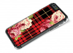 Coque iphone 6/6S Flowers and Red Tartan