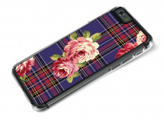 Coque iphone 6/6S Flowers and Blue Tartan