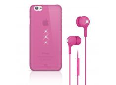 Coque iPhone 6/6S White Diamonds Trinity+Ecouteurs Swarovski Elements-Pink