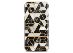 Coque iPhone 7/8 Black & Gray artistic geometric marble